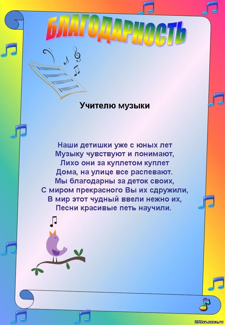Поздравления учителям на выпускной от родителей в музыкальной школе